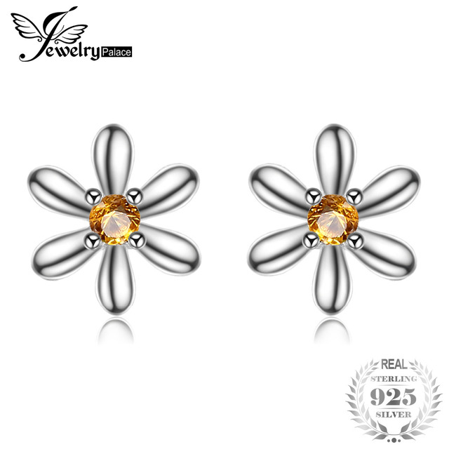 JewelryPalace Stud Earrings For Women 925 Sterling Silver Flower 0.1ct Created Orange Sapphire Girls Fashion Brand Fine Jewelry