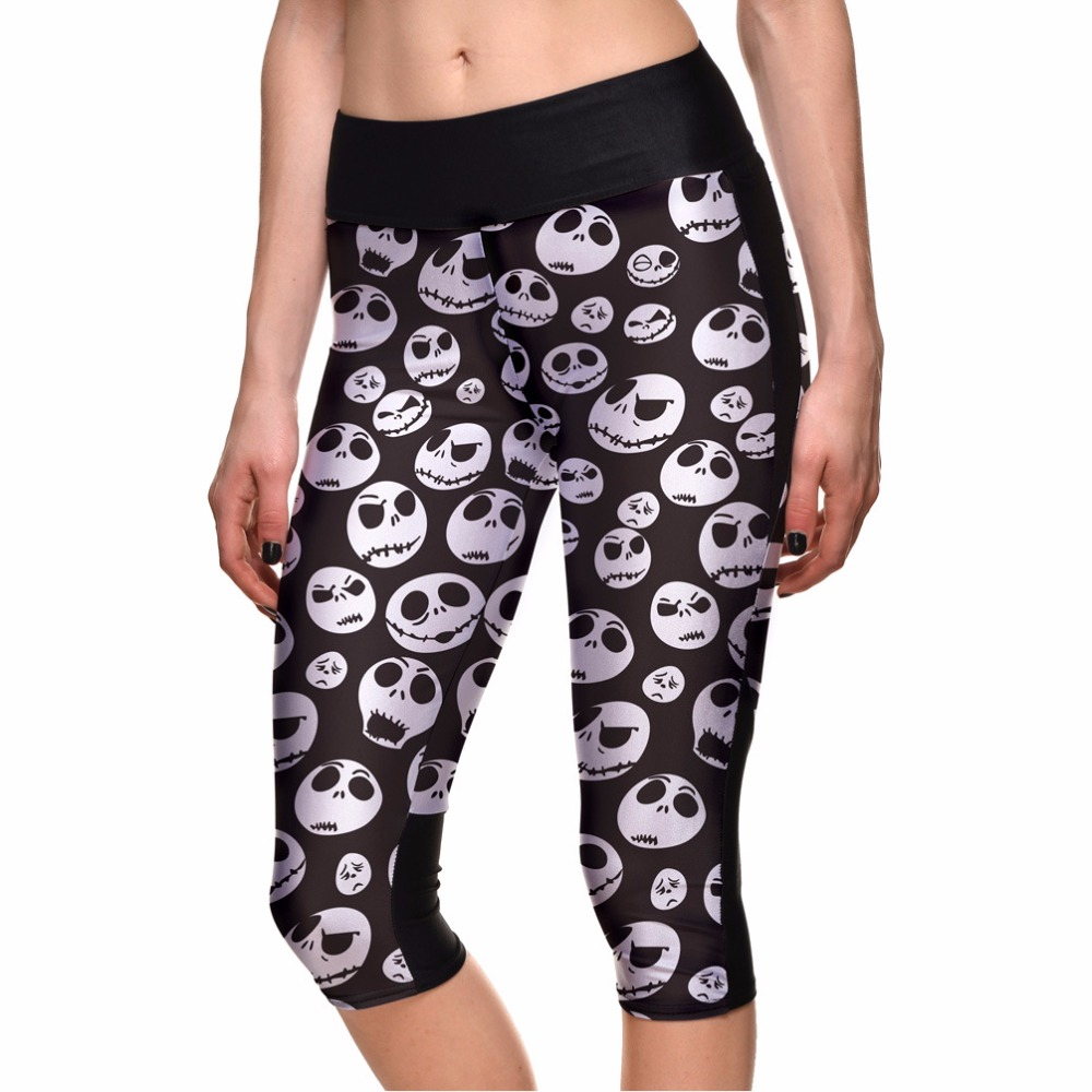 Harajuku Red Flower Skull women's pants Halloween Summer Capris Elastic S To 4xL Plus Size Fitness Trousers 3 Patterns