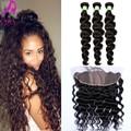 7A Malaysian Loose Wave Silk Base Frontal With Bundles 4Pcs Malaysian Virgin Hair Loose Wave Lace Frontal Closure With Bundles