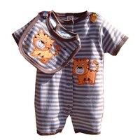 Cute Tiger Brown Stripes Rompers Bib 2PCS Cotton New Born Baby Boy Clothing Set Roupa Infantil