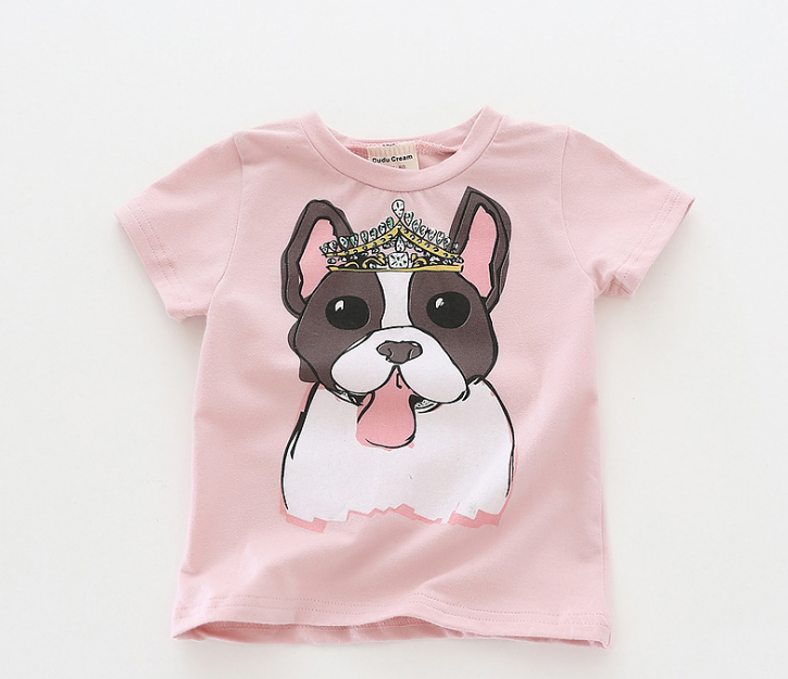 Baby Summer Clothes Cotton Casual Girls T-shirts Cartoon Cute Crown Dog Print Tshirts For Girls High Quality Baby Kids Clothes