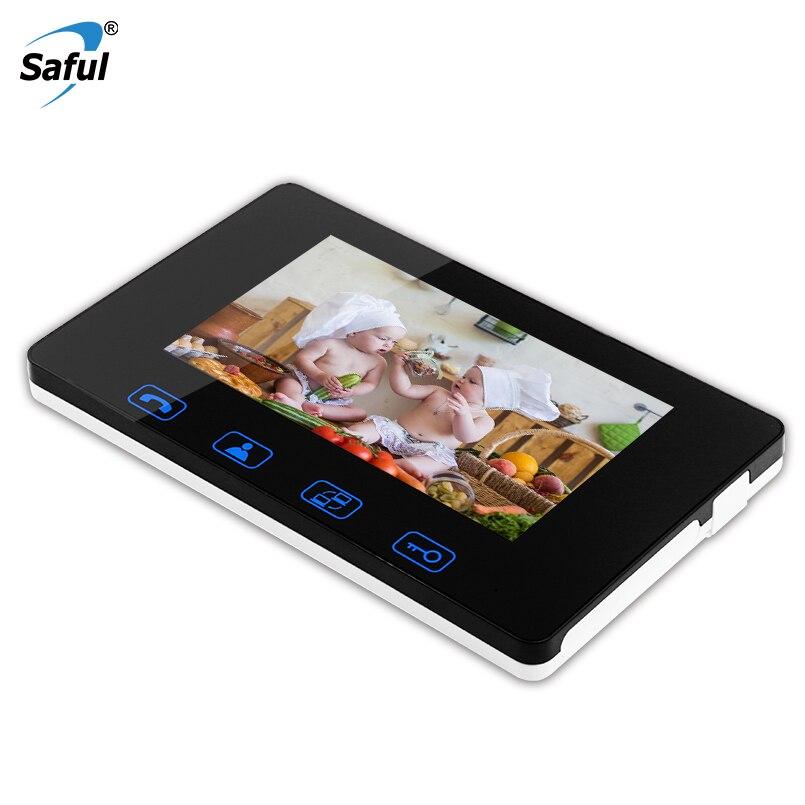 Saful 7 Inch Digital Color Touch Screen Indoor Monitor Video Door Phone Waterproof Doorbell Intercom System Video Recording