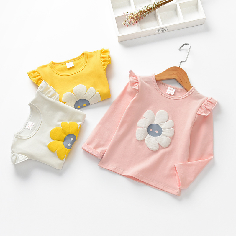 Flora Print Girls Long Sleeve T Shirt Cotton Children Baby Tops Kids Girl Full T-shirt Baby Girls Clothing 2018 Spring 2-8 Years