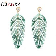 CANNER Creative Green Leaf Earrings Acrylic Fashion Dangle Boho Leaves Statement 2019 Women Jewelry bijoux FI