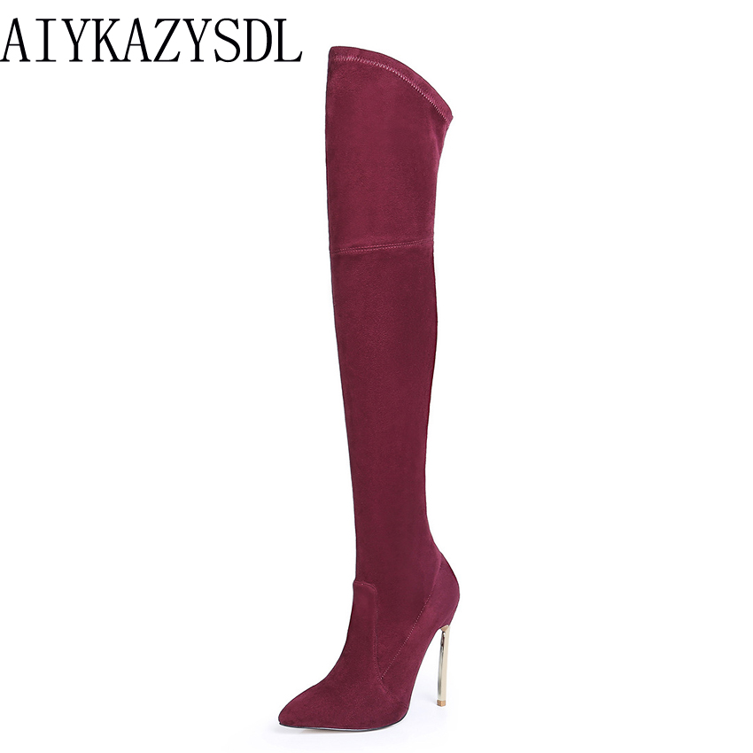 AIYKAZYSDL Women Stretch Elastic Boots Thin Over The Knee Thigh High Boots Fashion Woman Shoes High Heel Stiletto Ridding Boots jialuowei women sexy fashion shoes lace up knee high thin high heel platform thigh high boots pointed stiletto zip leather boots