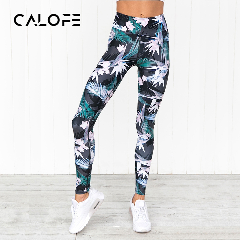 CALOFE Flower Print Running Yoga Pants Women Leisure Sweat Pants Elastic Jogger Pants Fitness Trousers Exercise Quick drying