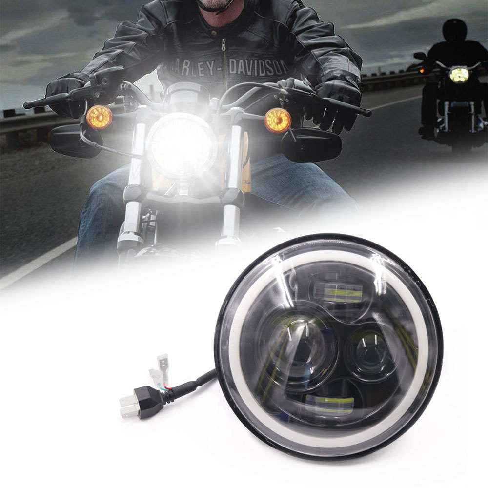 7 Inch Motorcycle LED Headlight Motorbike Car Headlamp 6500K H4 H13 45W With Angle Eyes High Low Beam
