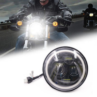 7 Inch Motorcycle LED Headlight Motorbike Car Headlamp 6500K H4 H13 45W With Angle Eyes High Low Beam For Harley Honda Yamaha