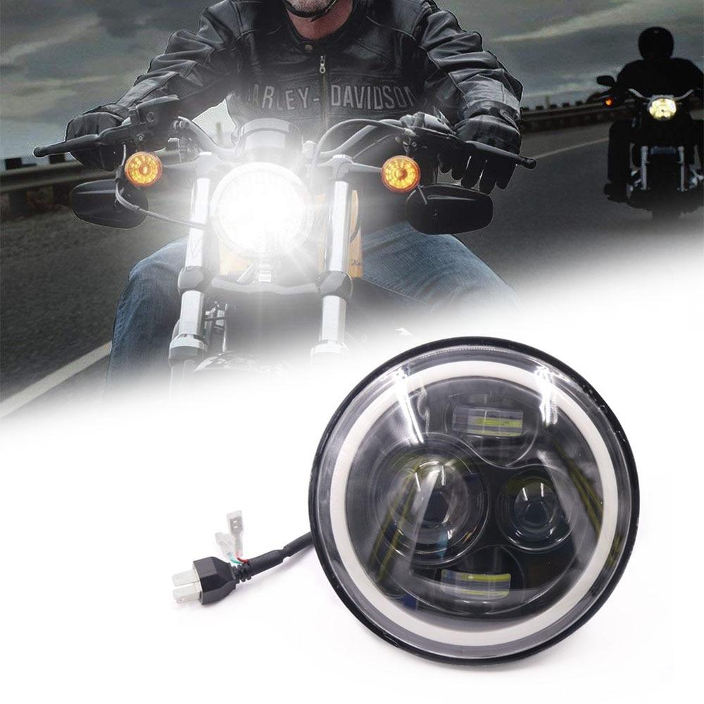 7 Polegada Motocicleta LEVOU Farol Moto Farol Do Carro 6500 k H4 H13 45 w Com Ângulo Olhos Farol Alto Baixo para Harley Honda Yamaha