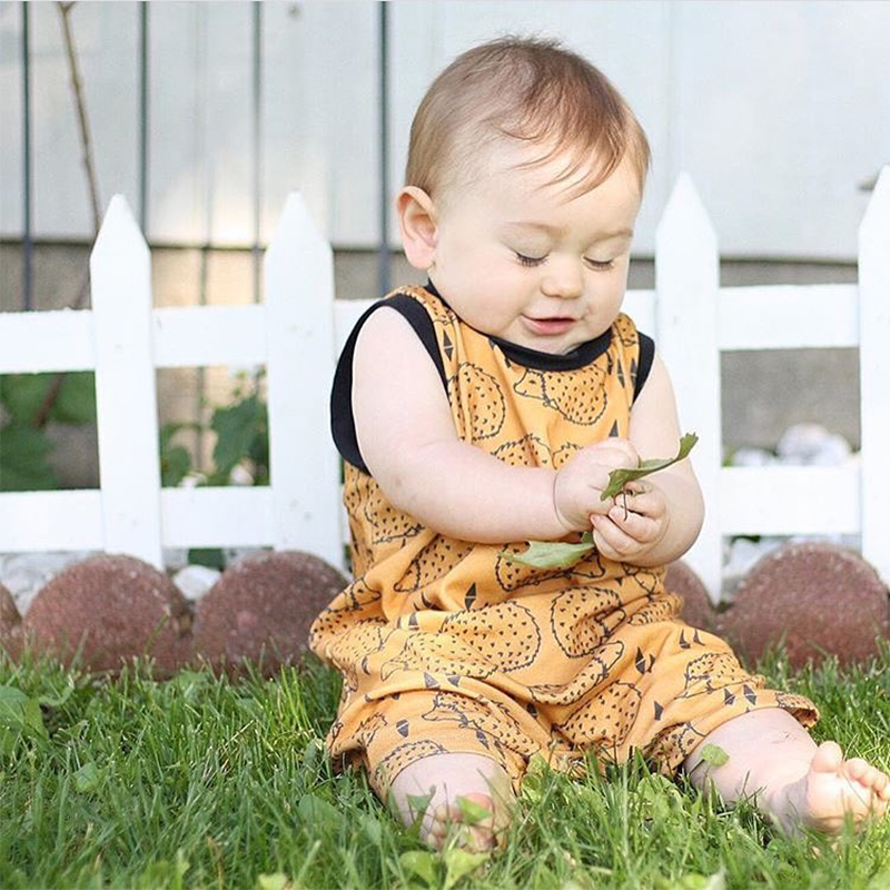 TinyPeople 2020 Baby Onesies Summer Sleeveless Hedgehog Print Vests For Baby Bodysuit Baby Boys Girls Dress Cute Newborn Clothes