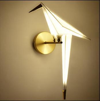 Nordic modern LED lamp Bird shape Creative Origami Paper Crane wall light for home decoration светильник настенный