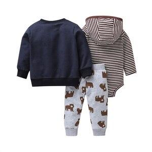 Image 2 - new born baby cartoon bear clothes set long sleeve Sweater+stripe romper+pants 2020 autumn outfit newborn boy clothing winter