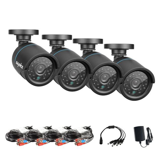Sannce 4 pcs câmeras de segurança ao ar livre indoor 1.0mp 720 p tvi ir night vision camera cctv segurança vigilância com bnc cabo