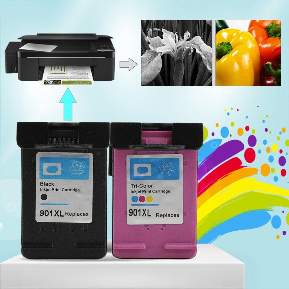 2 stücke sets für hp901 xl hp901 color/schwarz tintenpatronen für hp officejet...