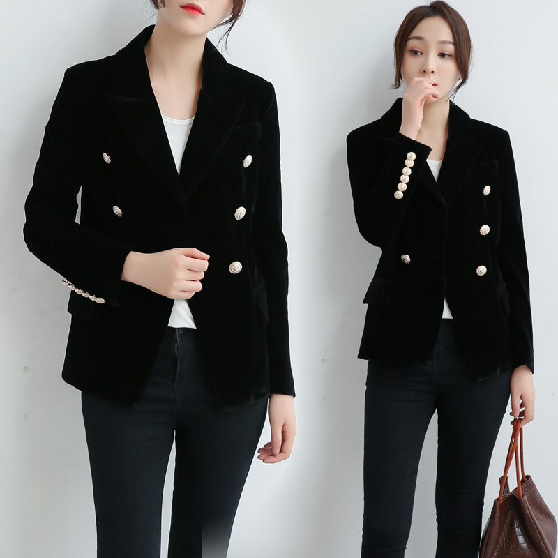 Short small suit female 2019 new gold velvet Slim temperament double-breasted retro temperament commute chic suit jacket(China)