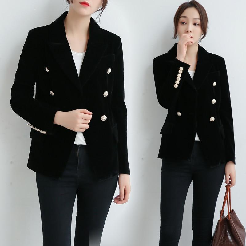Short small suit female 2019 new gold velvet Slim temperament double-breasted retro temperament commute chic suit jacket(China)