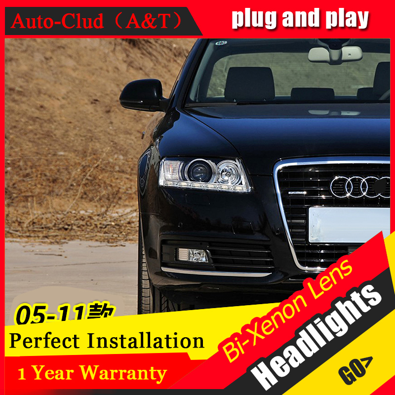 Car Styling For A6 led headlights 2005-2011 For A6 head lamp Angel eye led DRL front light Bi-Xenon Lens xenon HID KIT