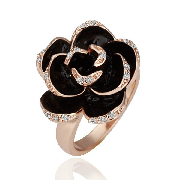 ZHOUYANG R089 Rose Rose Gold Color Ring Health Jewelry Nickel Free White Gold Rhinestone Austrian Crystal Element