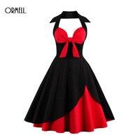 ORMELL Vintage Dress Black Off Shoulder Bow Dress 1950s Style 2017 Summer Dresses Elegant Vintage Women