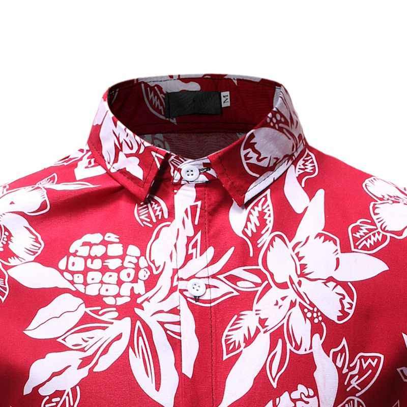 Мужская Цветочная гавайская рубашка 2019, модная рубашка с длинными рукавами и принтом листьев, Мужские приталенные повседневные топы уличного стиля, рубашки, рубашка Camisa Hombre