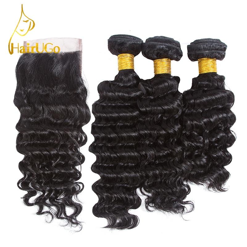 HairYou Pre-colored Brazilian 3 Bundles Mänskligt Hårväv med - Mänskligt hår (svart)