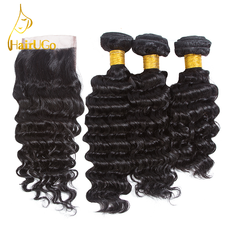 HairUGo Pre-colored Brazilian 3 Bundles Human Hair Weave with Closure Deep Wave with Closure #1b Nature Black Color Non Remy