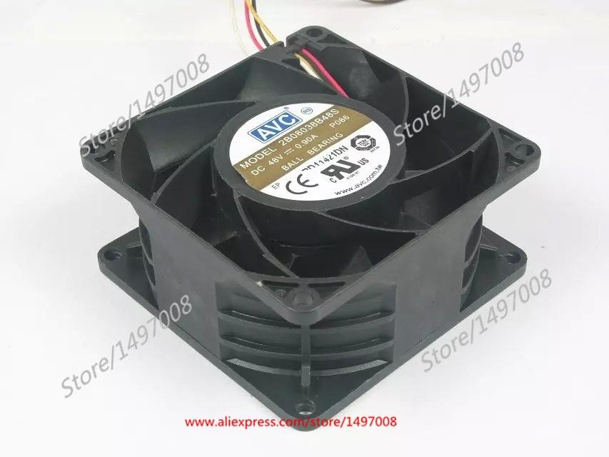Free Shipping For AVC 2B08038B48S P086 DC 48V 0.90A 4-wire 4-pin connector 80mm 80x80x38mm Server Square cooling fan free shipping for avc baaa0705r5hpoff dc 5v 0 40a 4 wire 4 pin connector server cooling square fan