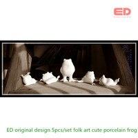 SET 5 ED Original Design Cute Ceramic Porcelain Frog Mini Sculpture Desktop Ornament Fairy Garden Decoration