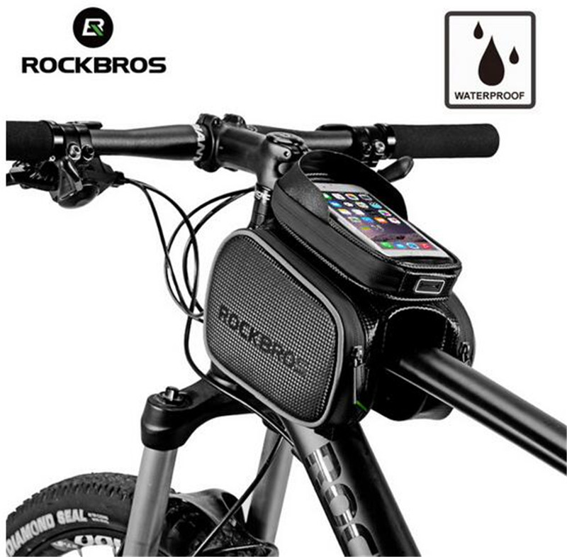 ROCKBROS Cycling Frame Tube Bag Rainproof Touch Screen Fit 5 8 39 39 6 2 39 39 Phone Front Head Bags Pannier Cell Phone Bike Accessories in Bicycle Bags amp Panniers from Sports amp Entertainment
