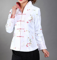 Hot Sale White Chinese Women's Silk Satin Jacket Mujeres Chaqueta Embroidery Long Sleeves Coat Size S M L XL XXL XXXL Mny02 D