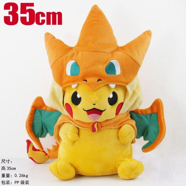 Candice guo! new arrival super cute Pokemon Pikachu plush toy Charizard coat cloak stuffed doll creative birthday gift 1pc