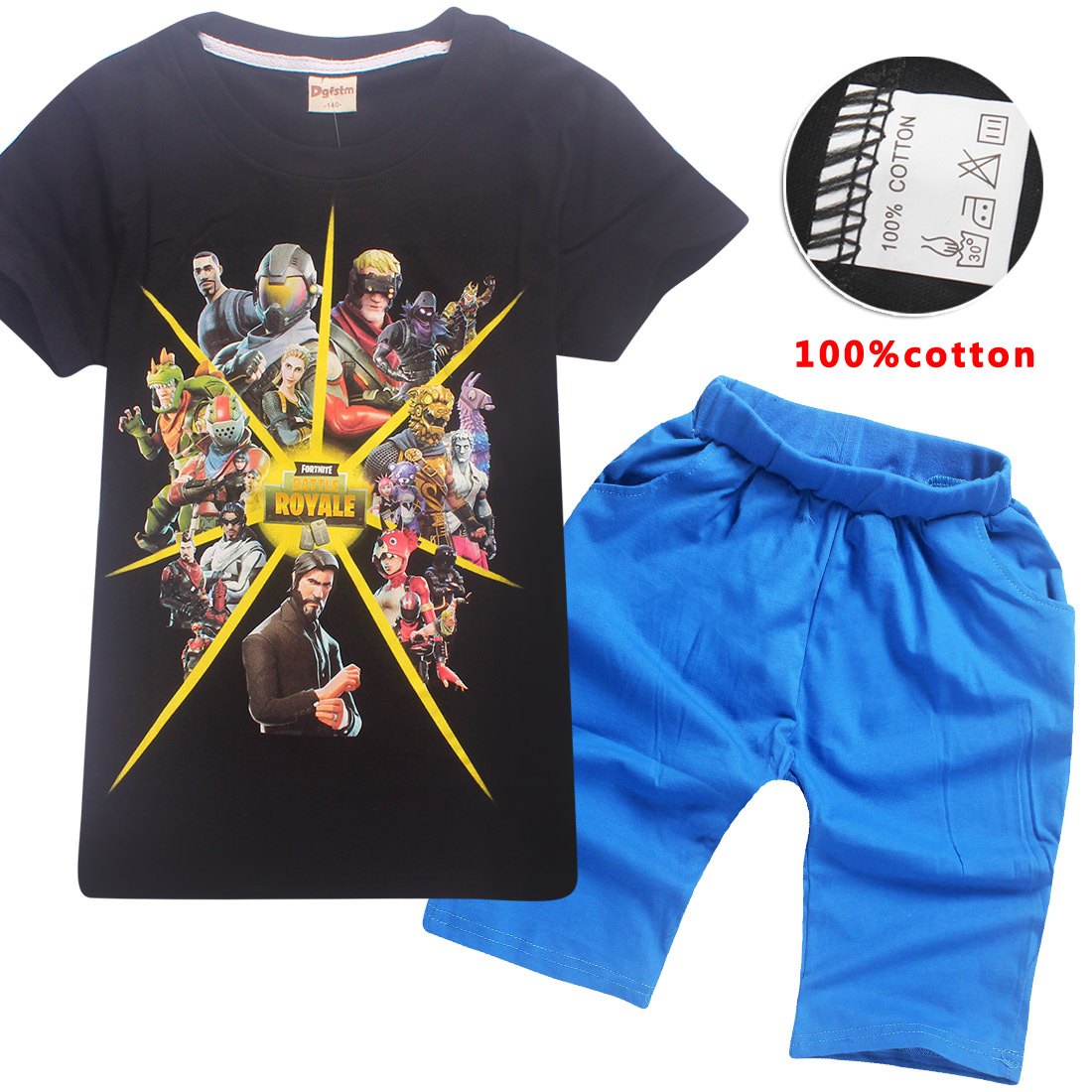 Z&Y 6-14Years Bobo Choses 2018 Casual Children Clothing Battle Royale Fortnite Shirt Top and Shorts Set Childrens Clothing Nova