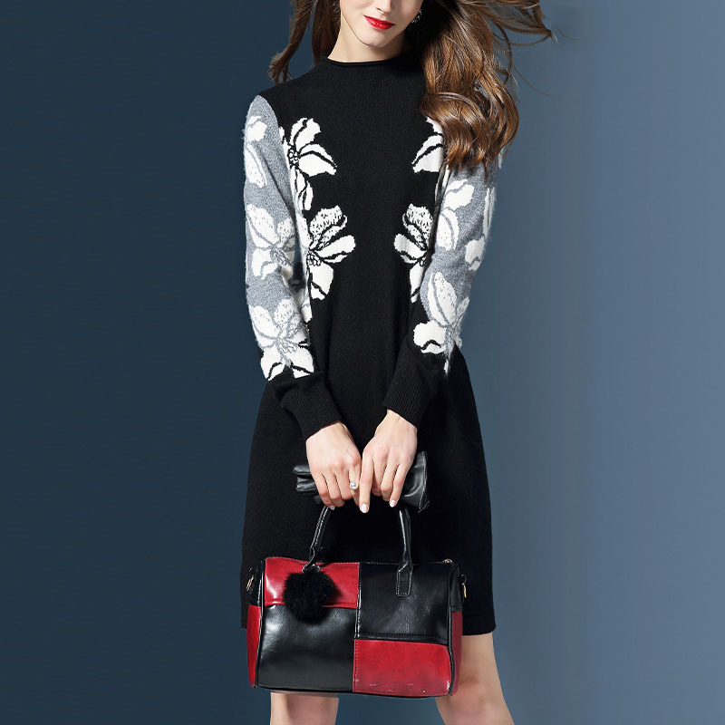 Spring and Autumn Winter Womens new loose bottoming sweater in the long section of fashion printing was thin knit dress