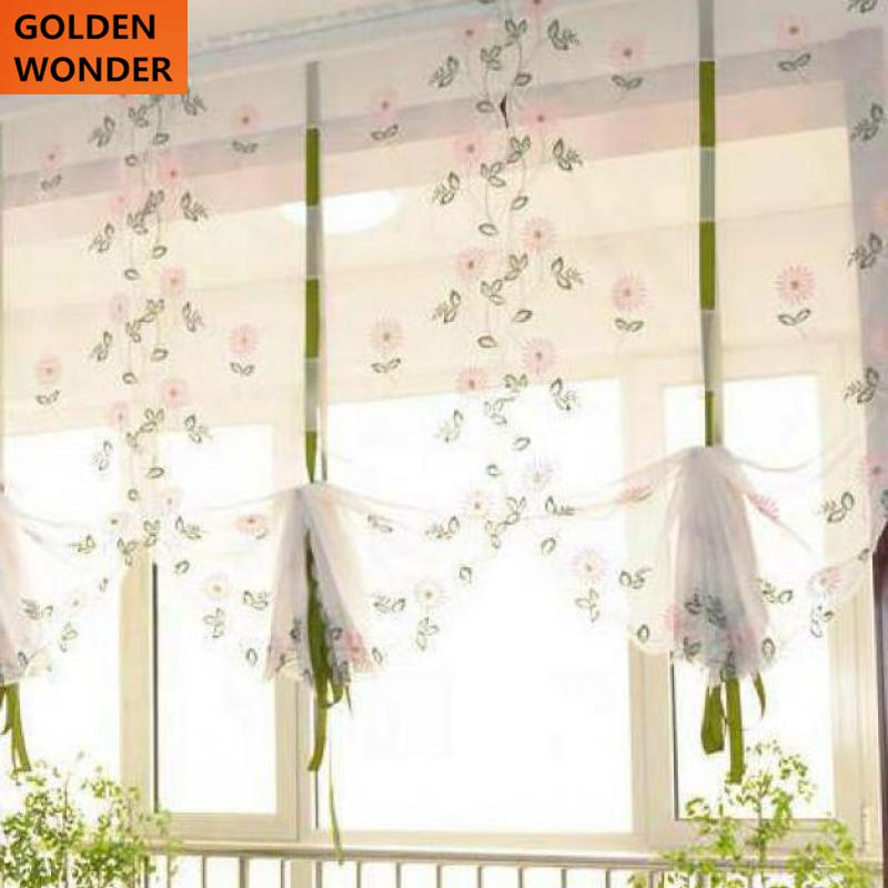 Balloon Kitchen Curtain Roman Curtain Daisy Yellow Pink