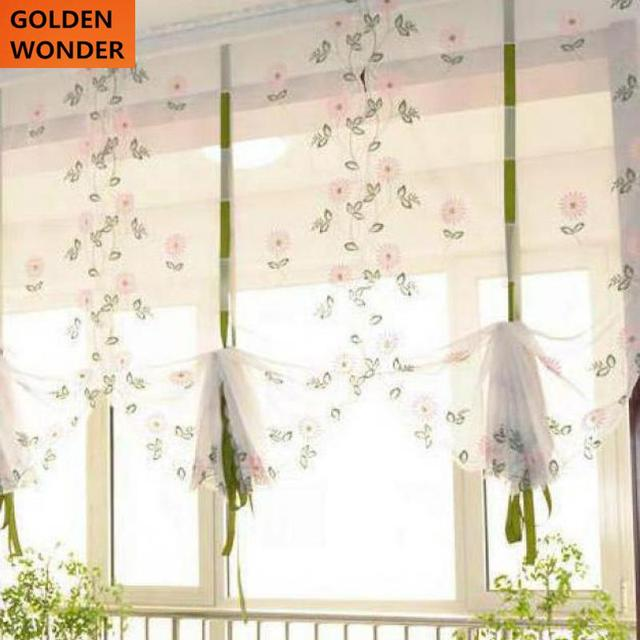 Balloon Kitchen Curtain Roman Daisy Yellow Pink Embroidered For Window Sheer Living
