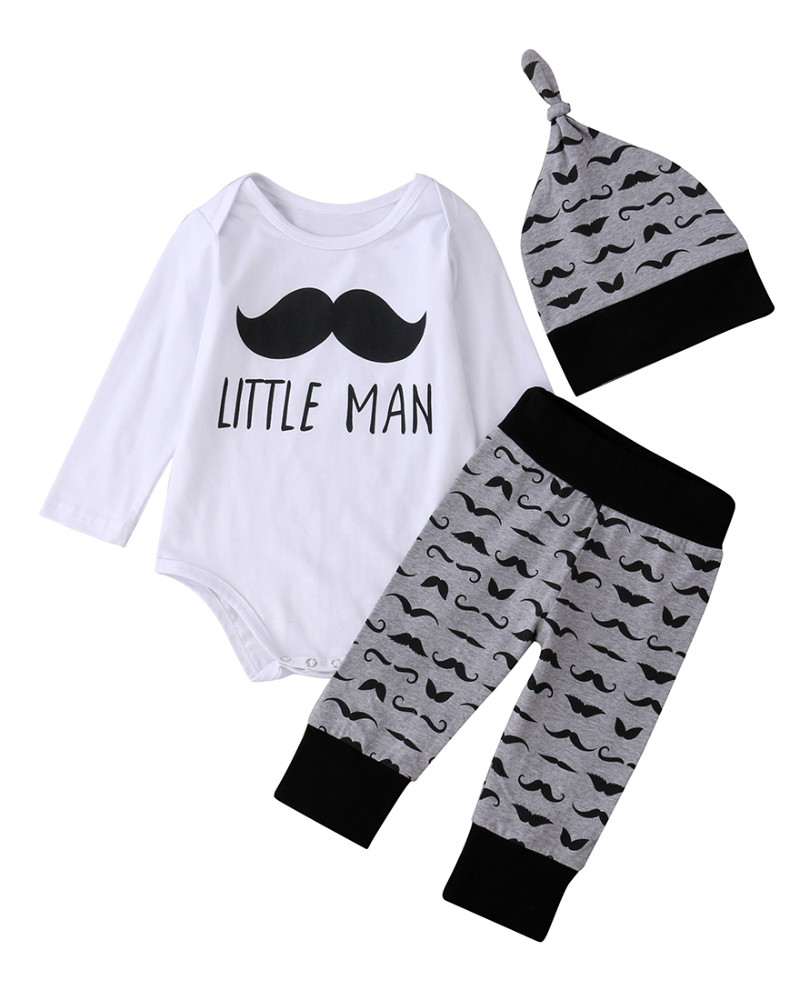 Newborn Infant Baby Boys Clothes Set Cotton Tops Romper Pants Hat 3PCS Set Short Sleeve Summer Boys Clothing Sets 0-18 Months