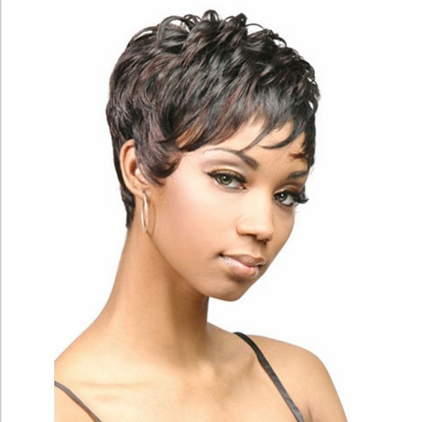 Black Short Wig Bob Curly Style Women's Hair For American Women African Ladies Black Short Wig ...