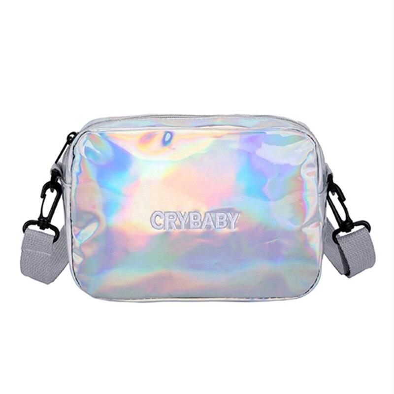 HTB1ooO8bBWD3KVjSZKPq6yp7FXaU Yogodlns 2019 Holographic Laser Backpack Embroidered Crybaby Letter Hologram Backpack set School Bag +shoulder bag +penbag 3pcs