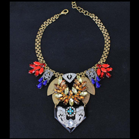 CirGen Fashion Vintage Heavy Gothic Chokers Metal Crystal Resin Pendants Statement Collar Necklace Women Jewelry Item,AF944