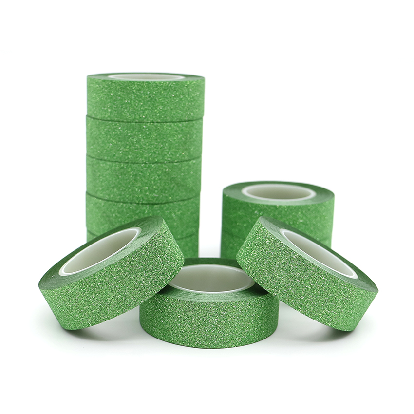 10m*15mm Creative Green Washi Tape Glitter Flash Stickers DIY Album Decoration Adhesive Hand Account Tape Masking Tape 1 PCS