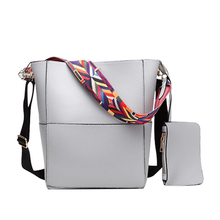 Farbe breiten trägern schultertasche für Frauen handtaschen leder messenger bags europäischen stil frauen tote eimer tasche 633
