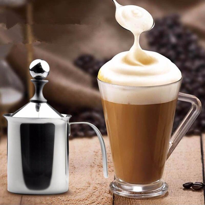 Orijinal 400 ML/800 ML Manuel süt köpürtücü Paslanmaz Çelik Çift Mesh Süt Kreması Süt Köpük Örgü Kahve Köpürtücü Kaymak