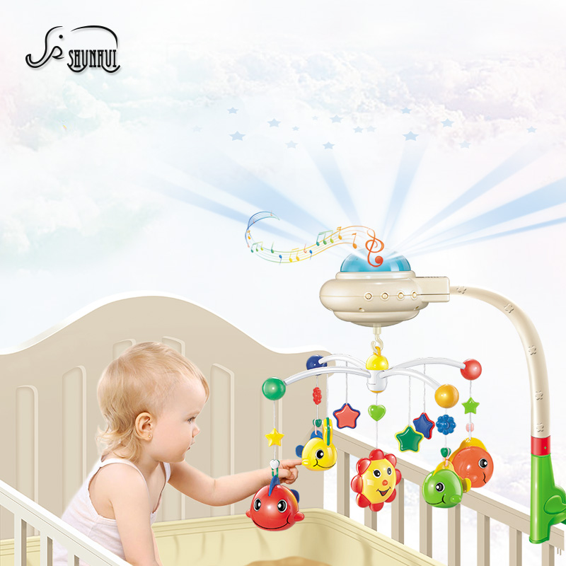 Kids Bed Bell Musical Crib Mobile for Baby Toys 0-12 Months Infant Hanging Rattles Plastic Starry Projection Rotating Holder Toy 72cm baby bed hanging rattles toys hanger diy hanging baby crib mobile bed bell toy holder 360 degree rotate arm bracket set