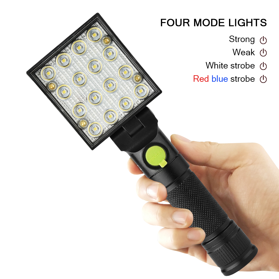 16 LEDs Flashlights 2in1 Working Torch 4 Modes 18650 Flashlight with Strong Magnet Hook Tent Camping Lamp Car Repair Work Light pvc camping flashlight torch linternas 2 modes led flashlight with bottom magnet and hook use 4 aaa batteries