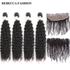 Rebecca Brazilian Curly Hair 4 Bundles With Frontal Closure Remy Human Hair Weave 13x4 Lace Frontal