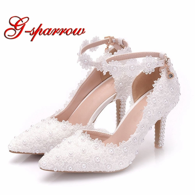 cc111aba31c White Lace Flower Wedding Shoes Slip On Pointed Toe Bridal Shoes 3 Inches High  Heel Women