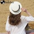 Navegante Ladybro 2017 de Las Mujeres del Verano Sombrero de Playa Femenino Casual Panamá sombrero de Señora de la Marca Classic Bowknot Paja Plana Sombrero Del Sol de Las Mujeres Fedora