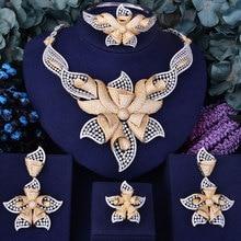 Godki 100 мм супер люкс Морская звезда цветок Для женщин СВАДЕБНЫЙ Цирконий колье Цепочки и ожерелья серьги Дубайская набор ювелирных украшений Addict