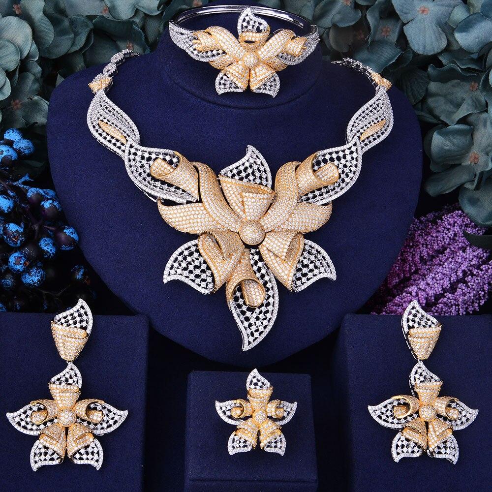 GODKI 100mm Super luxe étoile de mer fleur femmes mariage cubique zircone collier ras du cou boucle d'oreille Dubai bijoux ensemble bijoux Addict-in Parures de bijoux from Bijoux et Accessoires    1