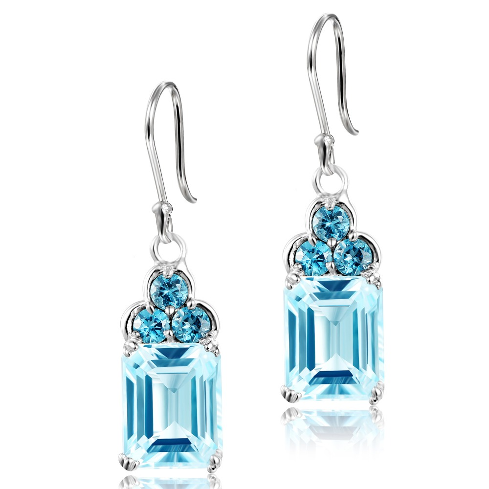DORMITH real 925 sterling silver earrings 6 2carats 7x9mm Natural sky blue topaz earrings luxury drop